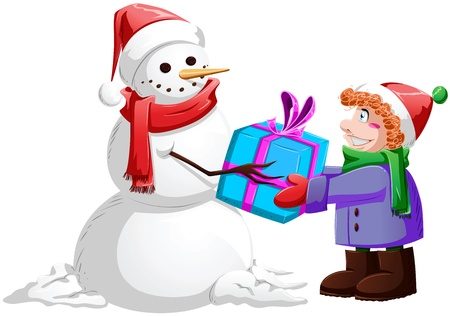 A vector illustration of a snowman giving a present to a child for Christmas. Stock Vector - 16595960
