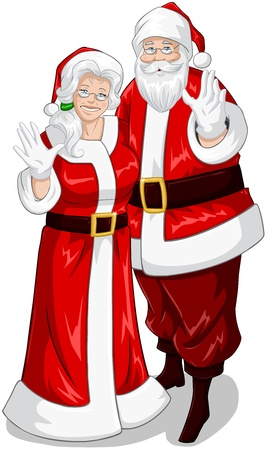 A vector illustration of Santa and Mrs Claus standing hugged and waving their hands for Christmas. Vector