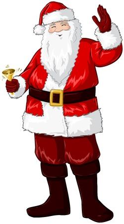 botas de navidad: Una ilustraci�n vectorial de Santa Claus sonriendo y tocando una campana y agitando la mano para la Navidad.