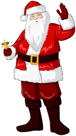 A vector illustration of Santa Claus smiling and ringing a bell and waving his hand for Christmas. Illustration