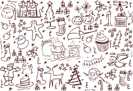 A pack of vector illustrations of Christmas related doodles. Vector