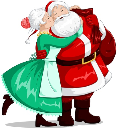 A vector illustration of a Christmas elf holding a present and smiling. Vector