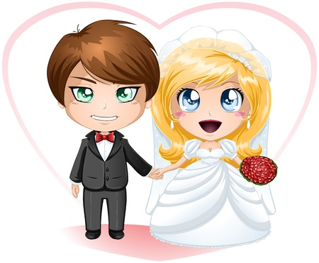 A illustration of a bride and groom dressed for their wedding day. Stock Vector - 17207014