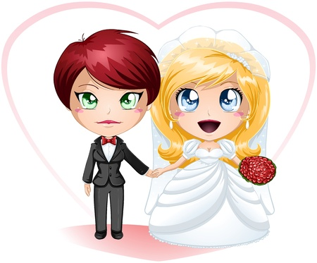 A illustration of lesbians dressed in dress and suit for their wedding day. Illustration