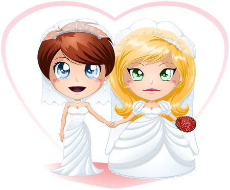 lesbians dressed for their wedding day. Stock Vector - 17207020