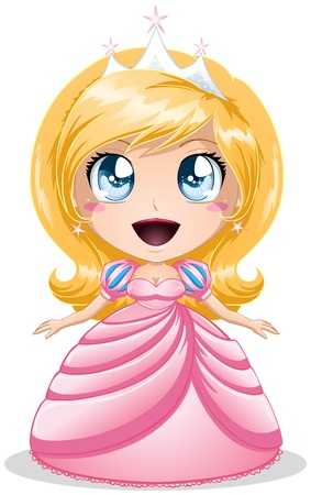 A vector illustration of a princess with crown in pink dress. Stock Vector - 17560360
