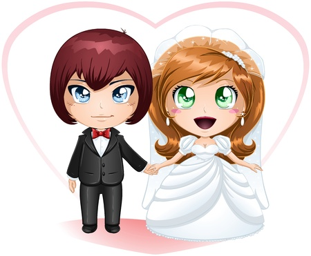 A vector illustration of a bride and groom dressed for their wedding day. Stock Vector - 17560356