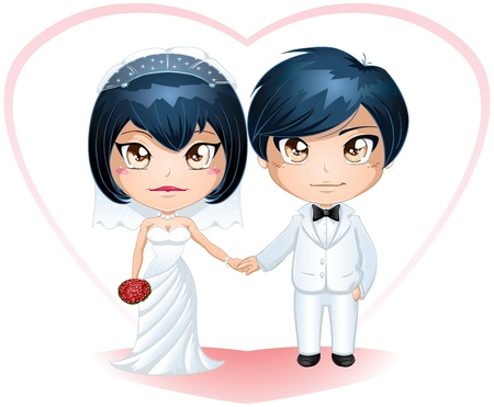 A vector illustration of a bride and groom dressed for their wedding day. Vector