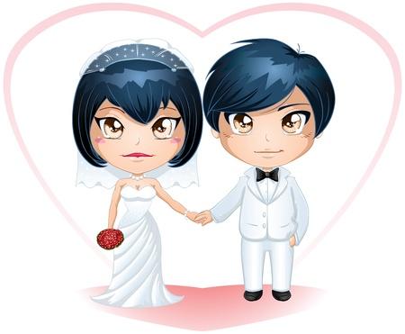 Een vector illustratie van een bruid en bruidegom gekleed voor hun trouwdag.
