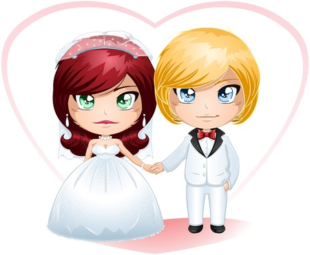 manga girl: A vector illustration of a bride and groom dressed for their wedding day.