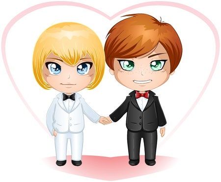 A vector illustration of gay men dressed in suits for their wedding day. Illustration
