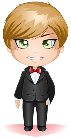 A vector illustration of a groon dressed in black suit for his wedding day. Vector