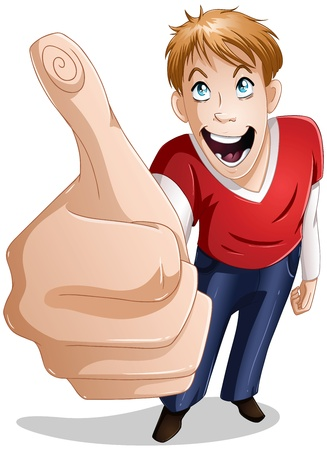 long sleeve shirt: A vector illustration of a young guy giving a thumbs up and smiling.