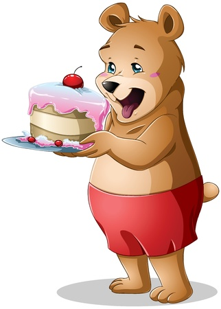 A vector illustration of a cute young bear holding a delicious cake.