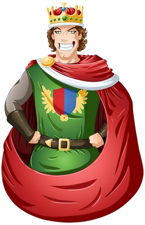 A vector illustration of a young king wearing a crown and smiling. Illustration