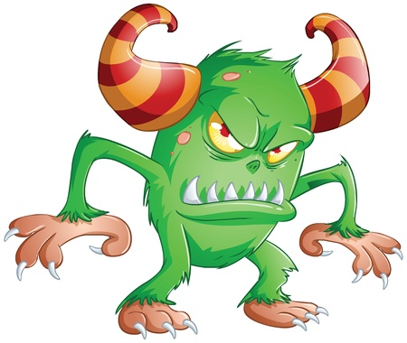 A vector illustration of cute scary green monster for Halloween. Vector