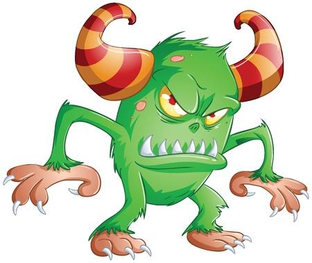 extraterrestres: Una ilustraci�n vectorial de lindo monstruo verde de miedo para Halloween.