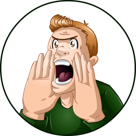 A vector illustration of an angry guy shouting