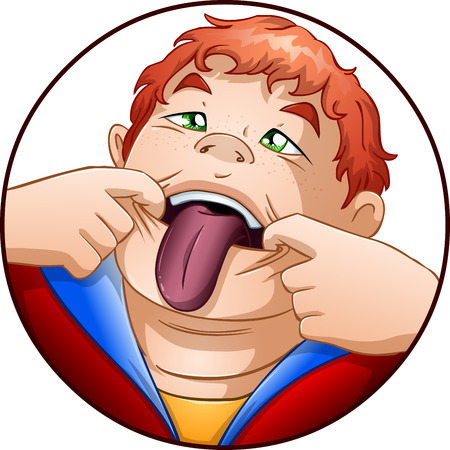 A vector illustration of a red headed child holding his mouth open and taking out his tongue