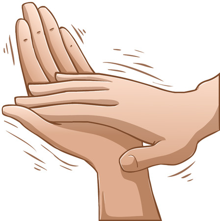 인간의 손에: 손을 박수의 벡터 일러스트