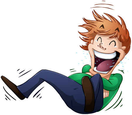 A vector illustration of a guy rolling on the floor and laughing
