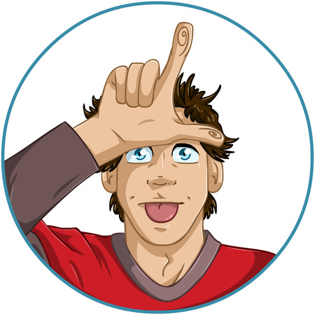 loser: A vector illustration of a guy giving a loser sign with his fingers on his forehead