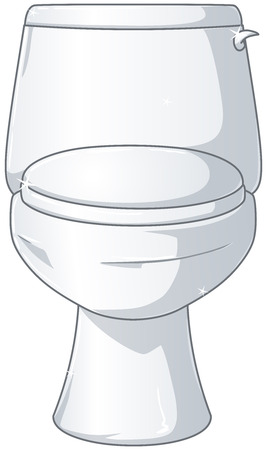 A vector illustration of a white shiny toilet with the lid closed  Illustration