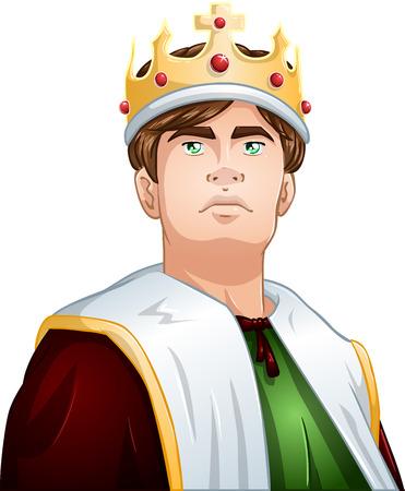 Een vector illustratie van een jonge koning draagt een kroon en cape