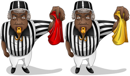 A vector illustration of a football referee holding a red or yellow flag and whistles
