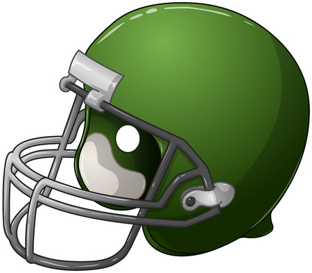 A vector illustration of a green football helmet
