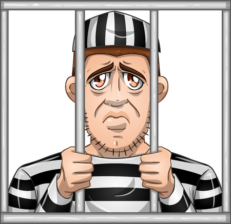 A vector illustration of a sad prisoner locked in jail behind bars