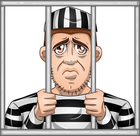 Una ilustración vectorial de un triste prisionero encerrado en la cárcel tras las rejas