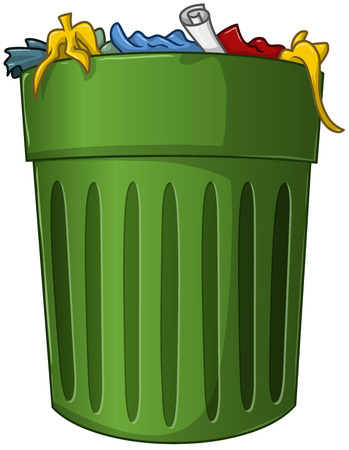 A vector illustration of a big green trash can with trash inside