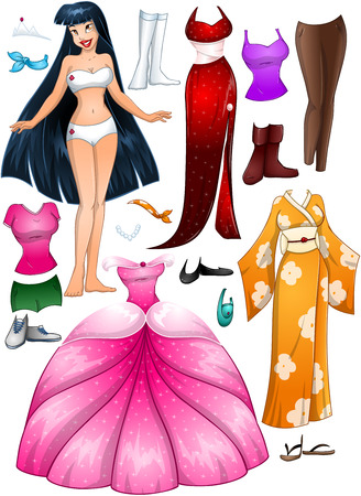 paper doll: A vector illustration of an asian girl template outfit and accessories dress up pack