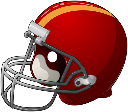 A vector illustration of a red football helmet