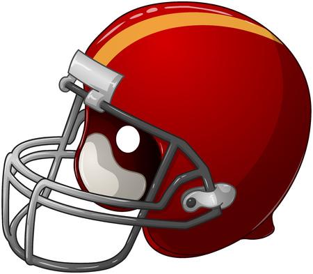 A vector illustration of a red football helmet