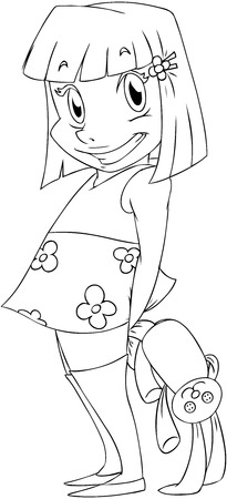 A Vector illustration coloring page of a little girl holding a rabbit doll behind her back and smiling