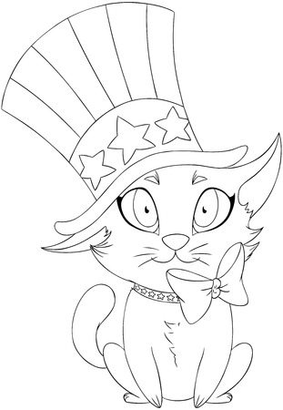 A Vector illustration coloring page of a kitten wearing a hat and bow designed as the American flag for the 4th of July