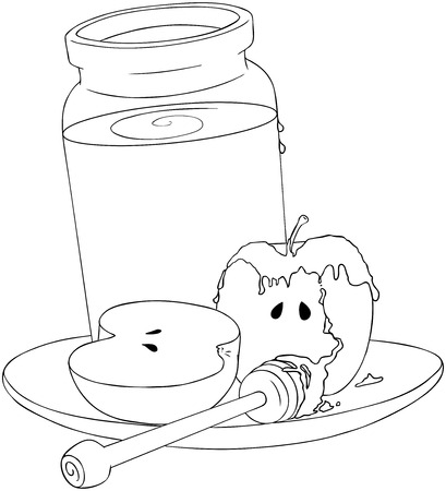 wooden stick: A Vector Illustration coloring page of a honey jar and sliced apple covered with honey and wooden stick on a plate for the Jewish New Year's  Illustration