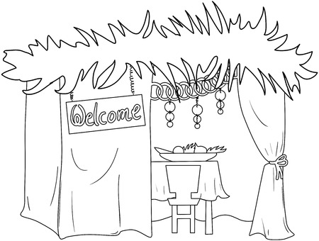 A Vector illustration coloring page of a Sukkah decorated with ornaments for the Jewish Holiday Sukkot