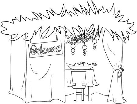 Una Ilustración Vectorial De Un Sukkah Decorado Con Adornos Para El ...