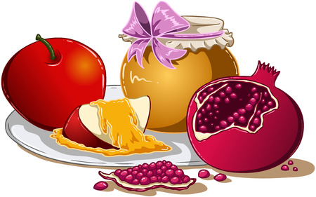 Vector illustration of honey apple and pomegranate on a plate for Rosh Hashanah the Jewish new year.  Vector