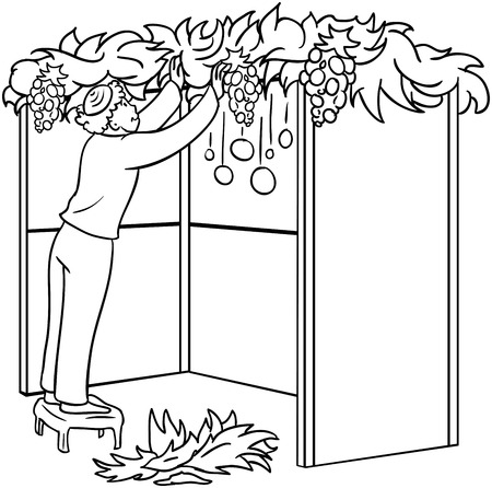 A vector illustration coloring page of a Jewish guy standing on a stool and building a Sukkah for the Jewish holiday Sukkot.  Vector