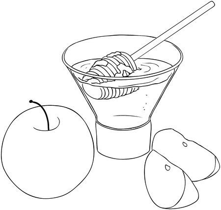 simchat torah: Vector illustration coloring page of honey and apple for Rosh Hashanah the Jewish new year.