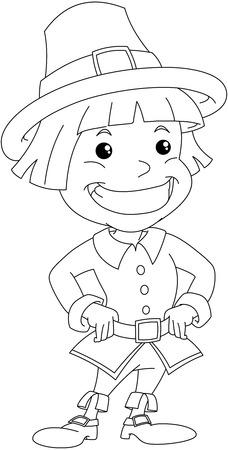 Vector illustratie kleurplaat van een kolonist jongen het dragen van traditionele kleding voor Thanksgiving. Stock Illustratie