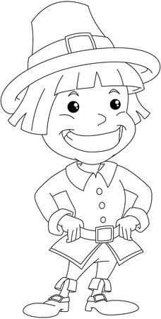 Vector illustration coloring page of a settler boy wearing traditional clothes for Thanksgiving.