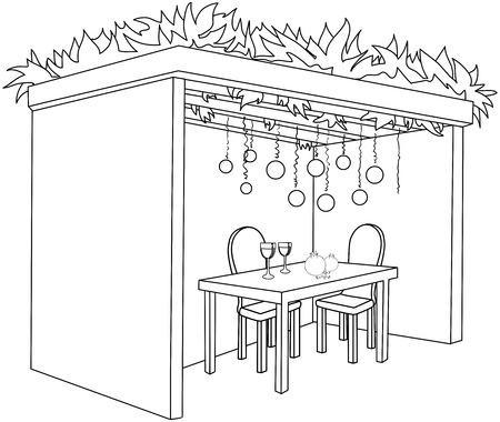 sukkot: Una illustrazione vettoriale pagina da colorare di una Sukkah decorato con ornamenti e un tavolo con bicchieri di vino e frutta per la festa ebraica di Sukkot.
