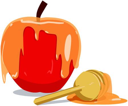 Vector illustratie van honing en appel voor Rosj Hasjana het joodse nieuwe jaar. Stock Illustratie