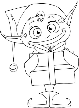 Vector illustration coloring page of a Christmas elf holding a present and smiling.  Vector