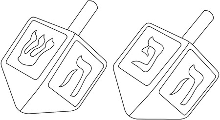 Vector illustration coloring page of dreidels for the Jewish holiday Hanukkah.